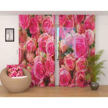ФотоТюль Розовые розы Код 1834