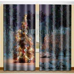 ФотоШторы Новогодняя елка Код 2155