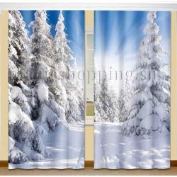 ФотоШторы Зимний лес Код 1704