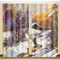ФотоШторы Зима в деревне Код 379