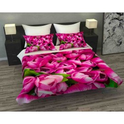 Фотопокрывало 3D Розовые тюльпаны