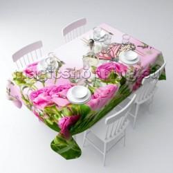 """Скатерть """"Стайка бабочек на розах"""" арт. 02355"""