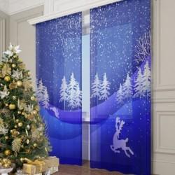 Фототюль Рождественский пейзаж, 145*260