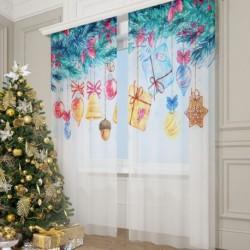 Фототюль Рождество в акварельных красках, 145*260