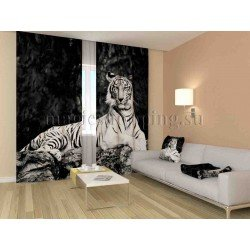 ФотоШторы Черно-белый тигр Код 1110