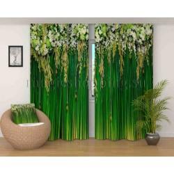 Фотошторы Бамбук и цветы Код 2799